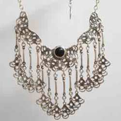 Ethnic silver necklace.