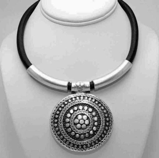 Black banded symbol necklace