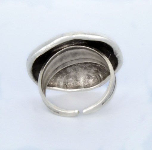 smal silver dome ring back view
