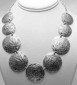 Silver ethnic necklace.