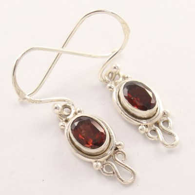 garnet 925 silver earrings
