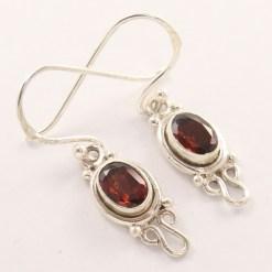 Small garnet silver earrings