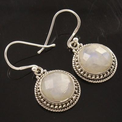 Wholesale rainbow moonstone gem earrings