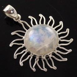 925 silver rainbow moonstone pendant