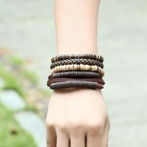 Leather multi layer bracelet