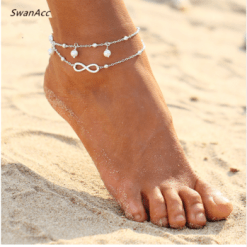 White gold and pearl wholesale anklet