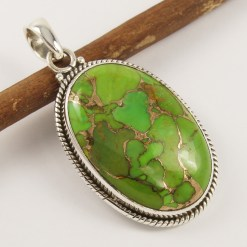 Green copper turquoise pendant