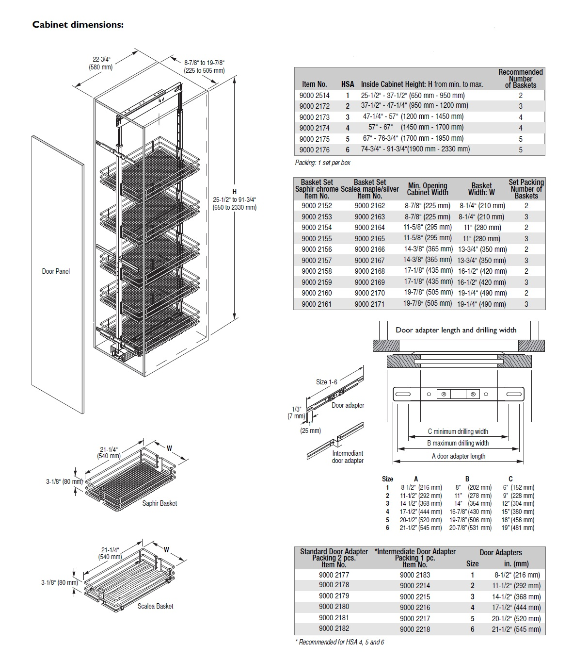 VAUTH-SAGEL ALA CARTE HSA PANTRY CABINET SYSTEMS