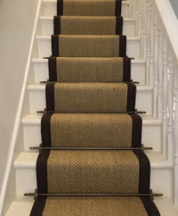 Stair Runner Carpet Fitting w/ Stair Rods