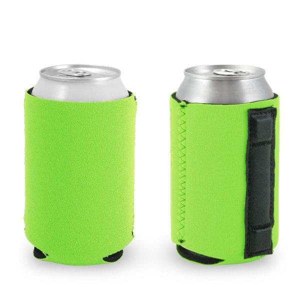 blank wholesale magnetic neoprene can koozie neon green
