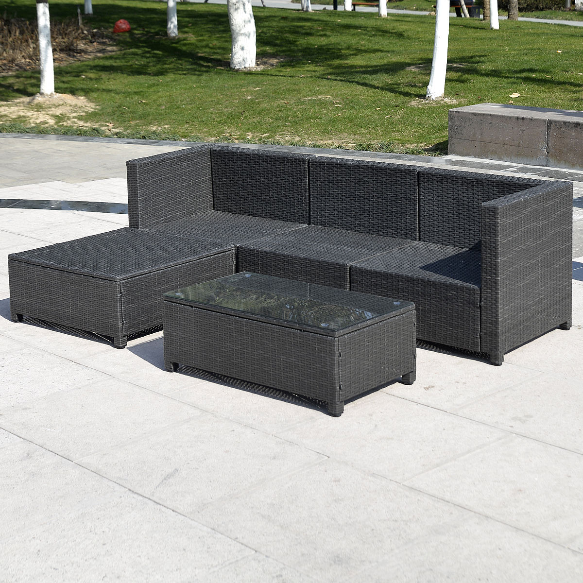 Outdoor Rattan Sofa Outdoor Patio Wicker Sofa Set 5pc Pe Rattan
