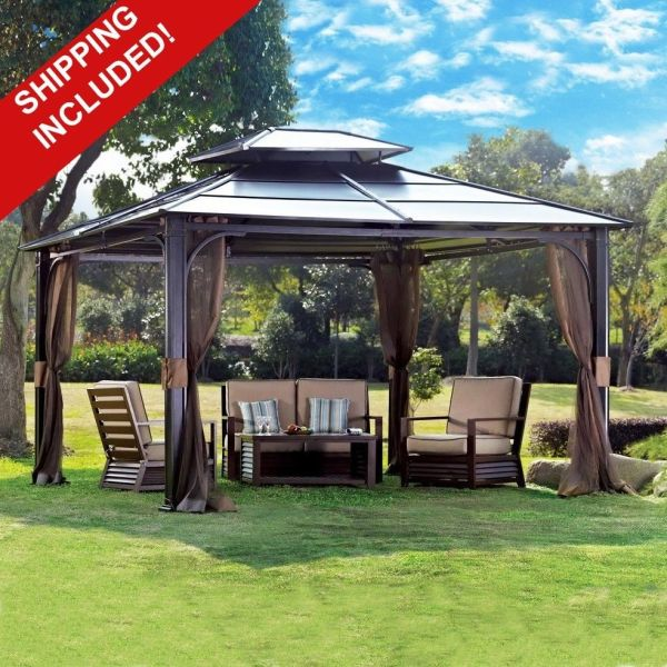 10 X 12 Hardtop Canopy Gazebo With Mosquito Netting