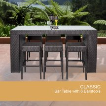 7 Piece Wicker Bar Table Set With Barstools