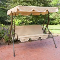 2 Person Covered Patio Swing w/ Adjustable Tilt Canopy