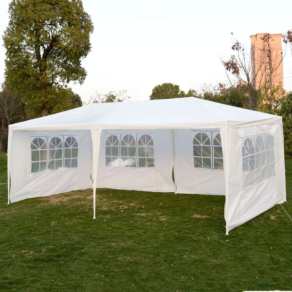 10 X 20 White Party Tent Canopy Gazebo With 4 Sidewalls