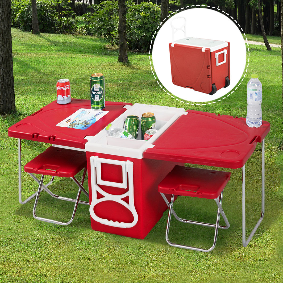 Picnic Chair Multi Function Rolling Cooler Picnic Table W 2 Chairs