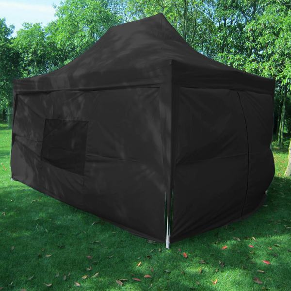 10 X 15 Black Pop Tent With Sidewalls & Curtains