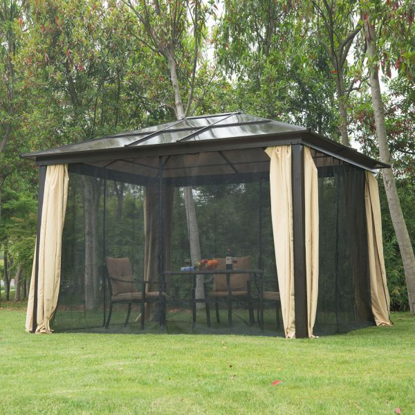 12 X 10 Hardtop Gazebo Outdoor Patio Canopy With Mesh And Curtains