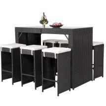7 Piece Wicker Bar Dining Set Stool Table