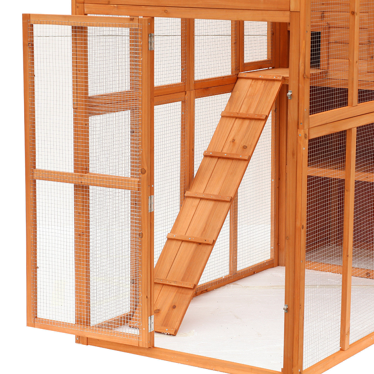 Wooden Cat Home Enclosure Pet House Shelter Cage Outdoor