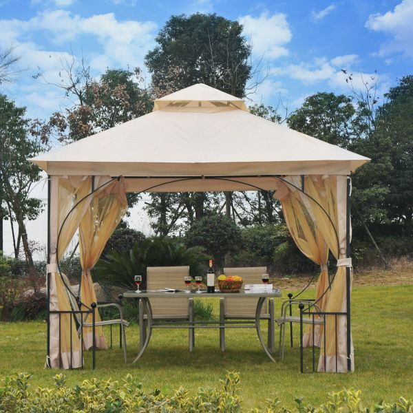 10 X Beige Gazebo Hardtop Canopy Metal Frame With Mesh Curtains