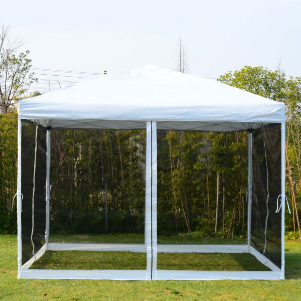 10 X White Gazebo Pop Canopy With Mesh Curtains