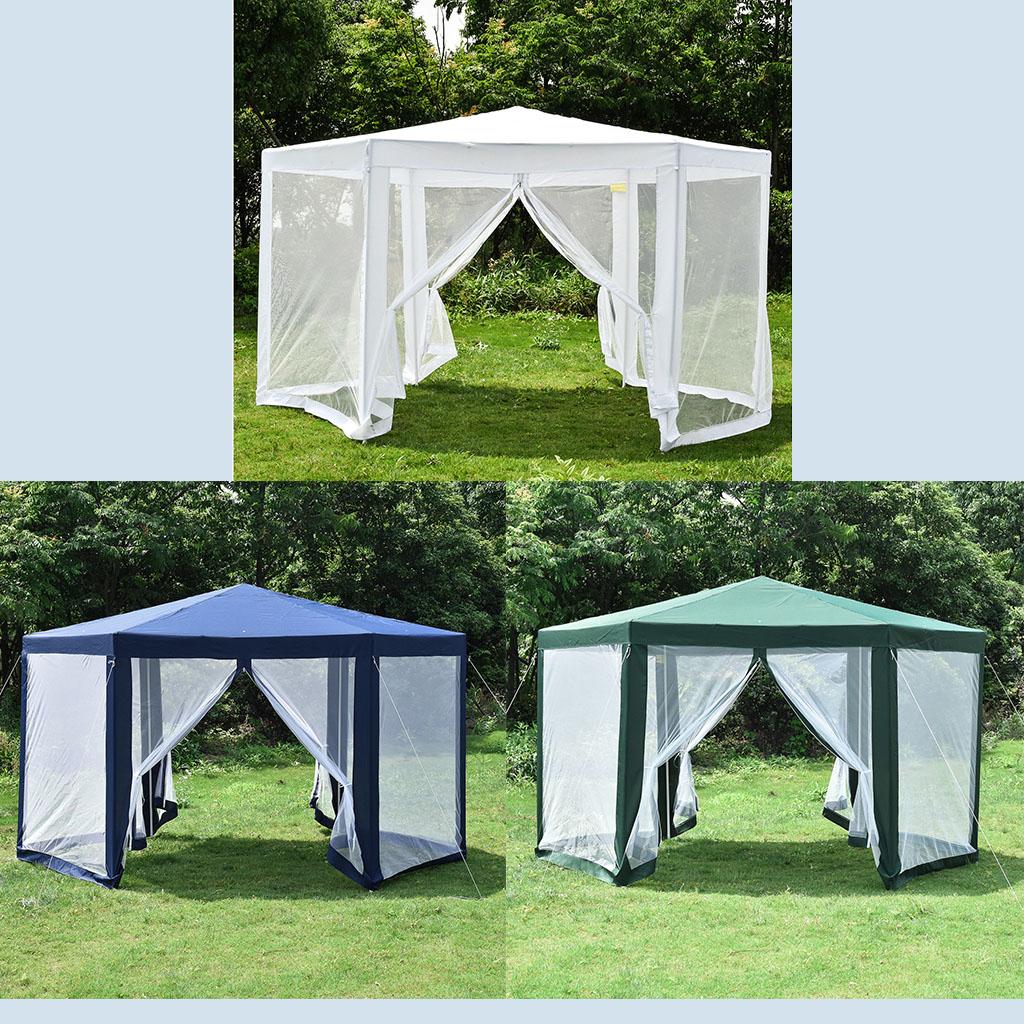 hexagonal gazebo outdoor patio canopy with mosquito net 3 colors
