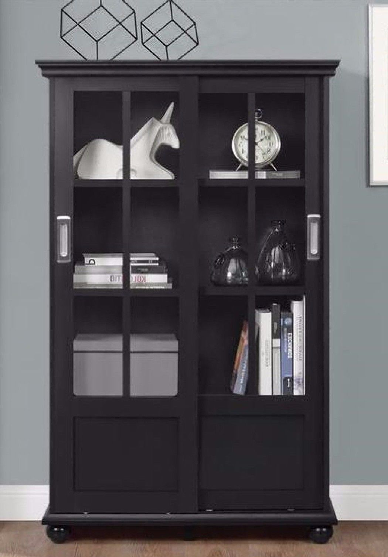 Glass Display Cabinet Bookshelf W Sliding Glass Doors