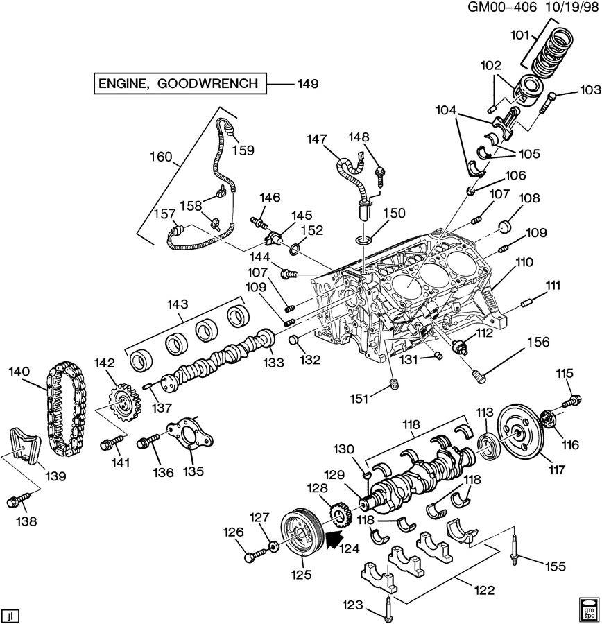 ENGINE ASM-3.4L V6 PART 1 CYLINDER BLOCK & RELATED PARTS