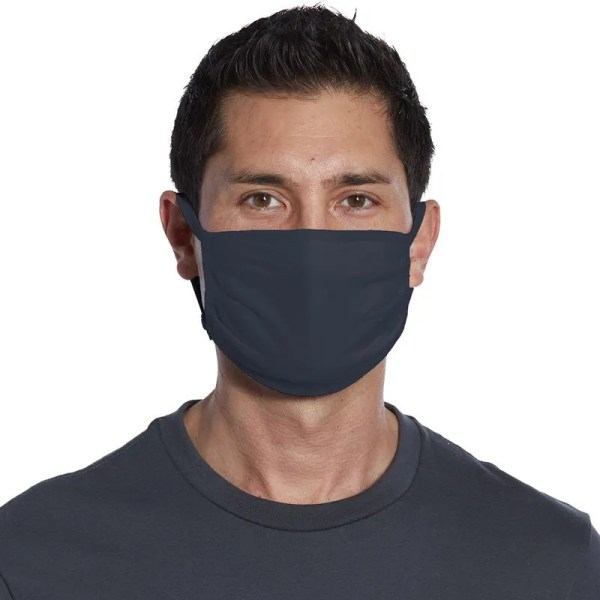 wholesale black cotton face mask navy front view