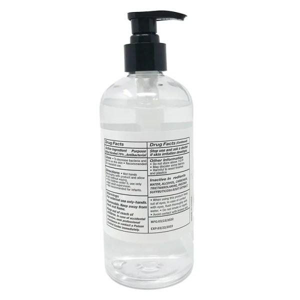 16.9oz gel sanitizer back