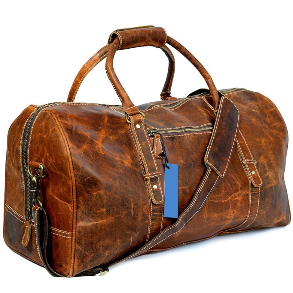 Buffalo Leather Travel Duffel Bag