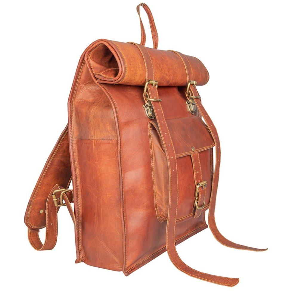 Leather Rolling Top Backpack