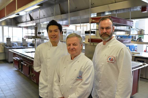 L - R - 2013 MasterChef finalist, Larkin Cen; President of the British Culinary Federation Peter Griffiths; Michelin starred Chef Glynn Purnell