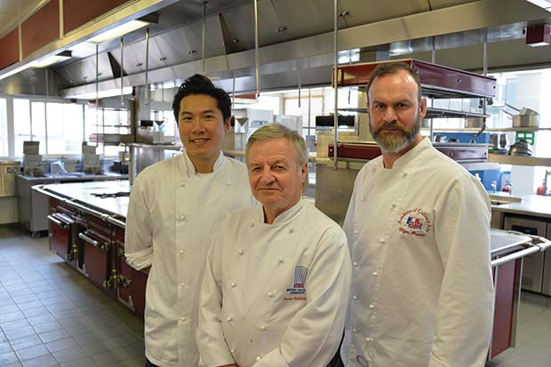 Left to right: 2013 MasterChef finalist, Larkin Cen; President of the British Culinary Federation Peter Griffiths; Michelin starred Chef Glynn Purnell.