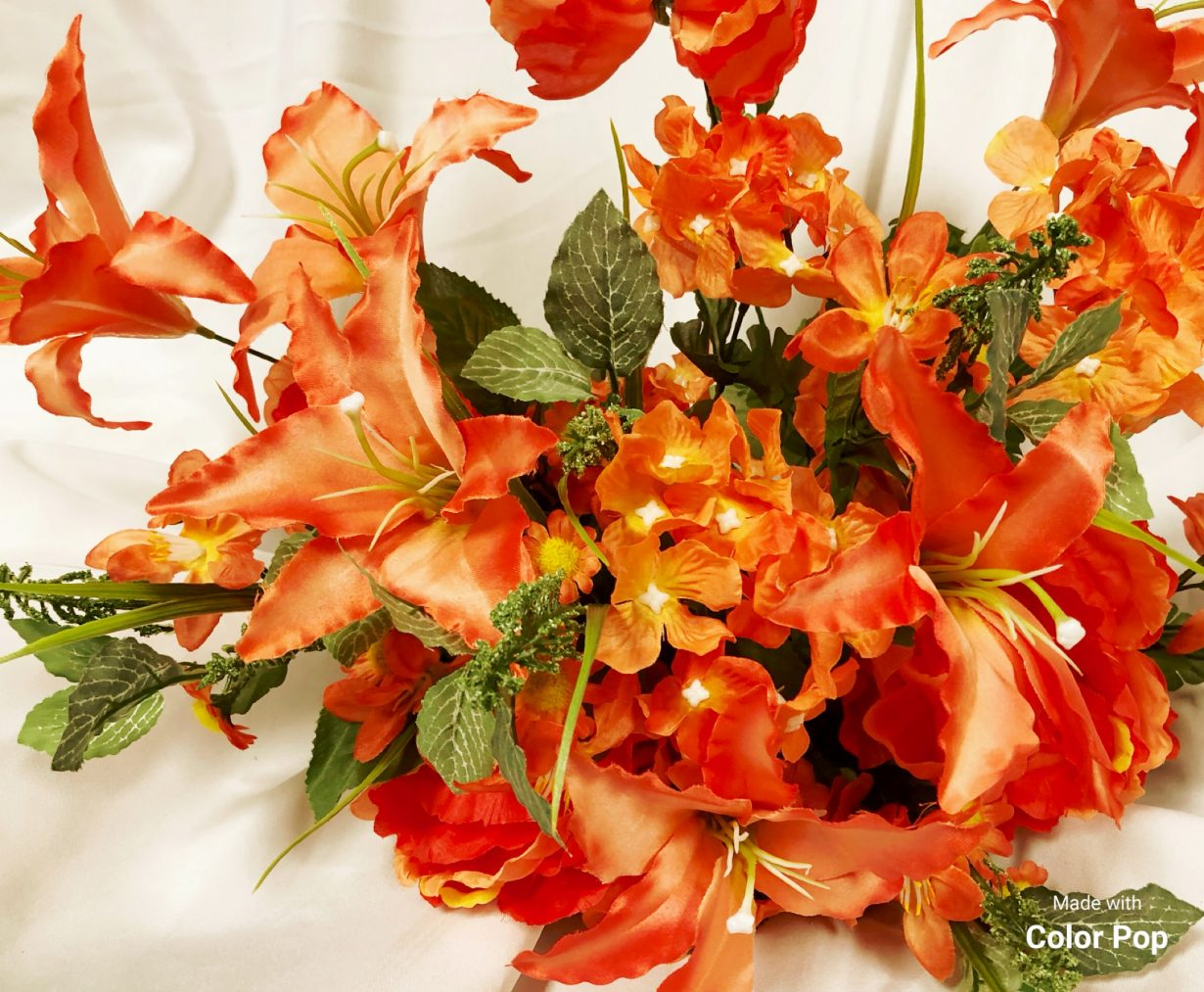Mixed bush with lilies hydrangea and peonies in coral wholesale south coral silk flower bush mightylinksfo