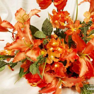 coral silk flower bush