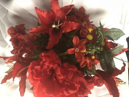 red lilies and red peonies