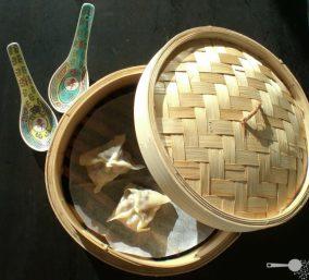 Asian steamed pork and prawn dumplings