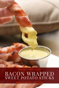 Bacon Wrapped Sweet Potato Sticks perfect for Breakfast, Game time, and appetizer! Find more recipes just like it at Wholesome-Joy.com