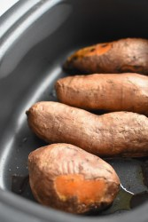 Slow cooker roasted sweet potatoes | Wholesome-joy.com | @Wholesome_Joy