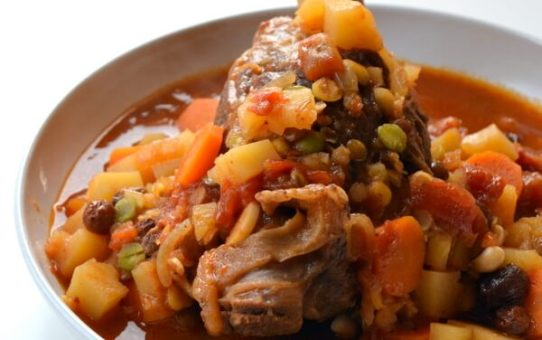 Lamb Shank Tagine with Root Vegetables & Lentils