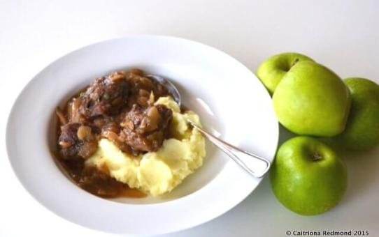 Slow-Cooked Pork Cheeks In Apple Sauce