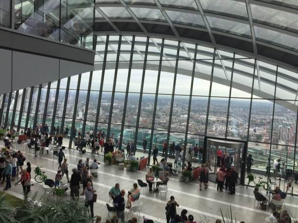 View from top floor of Sky Garden down to the lower viewing deck.