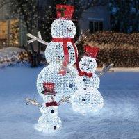 3pc LED Christmas Holiday Lighted Random Twinkling Snowman ...
