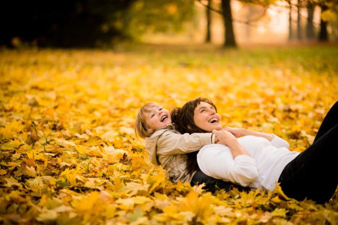 Playing in autumn time