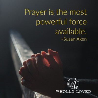 image of woman praying with quote from post.