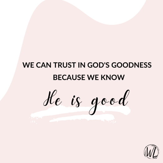 Graphic trust God's goodness on pink background