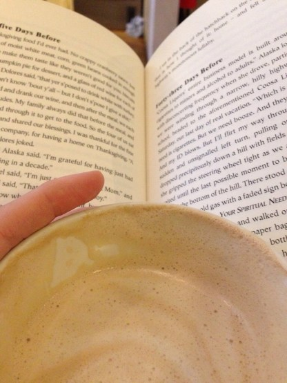 At Accents with a vanilla chai latte - I sat here for a good three hours, just reading!