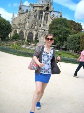 Being goofy outside of the Notre Dame - I'm famous for my robot walking pose